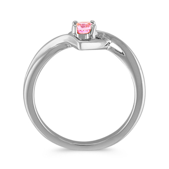 Pink Sapphire Heart Ring in Sterling Silver image