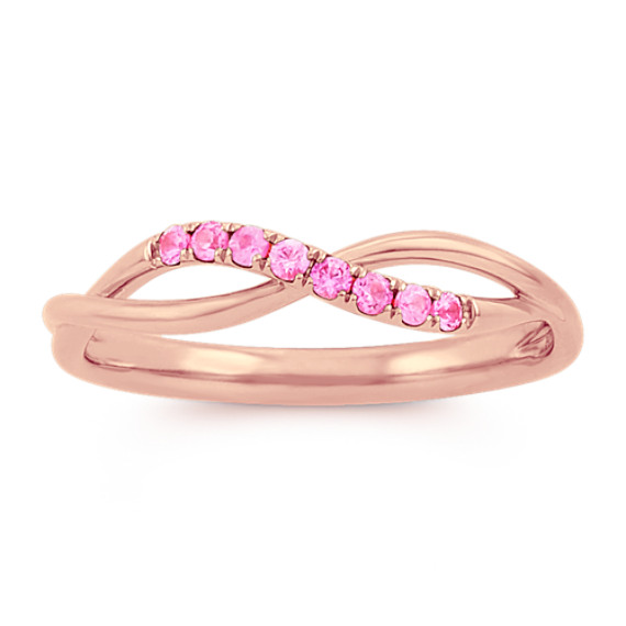 Pink Sapphire Swirl Ring in 14k Rose Gold
