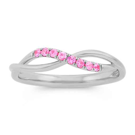 Pink Sapphire Swirl Ring in 14k White Gold
