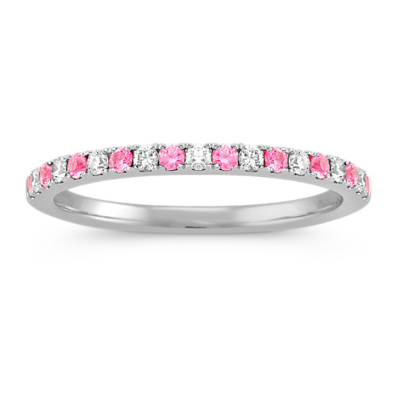 Pink Sapphire and Diamond Wedding Band with Pave Setting