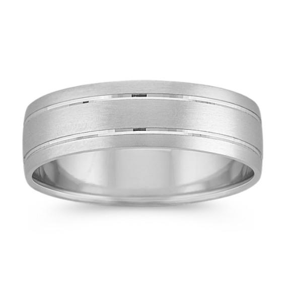 Platinum Comfort Fit Ring with Satin Finish (6mm)