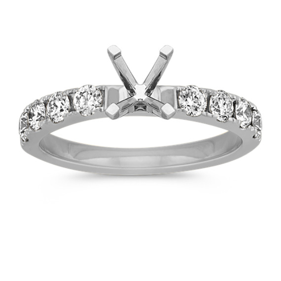 Platinum Round Diamond Pave-Set Engagement Ring
