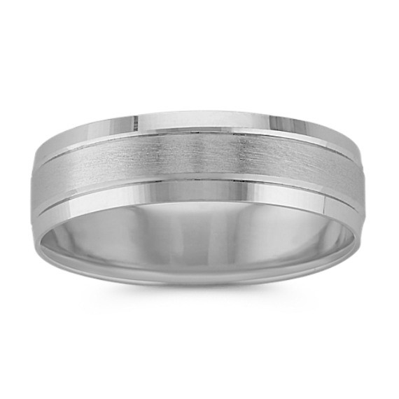 Platinum Textured Comfort Fit Ring (6mm)