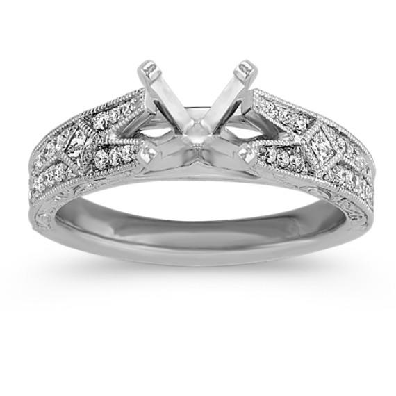 Scott Kay Platinum Engraved Five Diamond 0 30ctw Wedding: Platinum Vintage Diamond Wedding Band