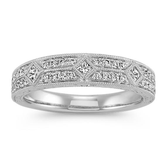 Platinum Vintage Diamond Wedding Band
