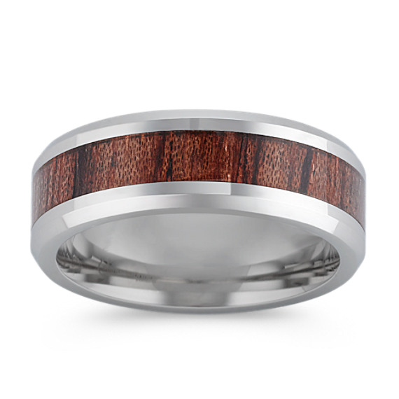 Polished Cobalt Ring with Faux-Rosewood Inlay (8mm)