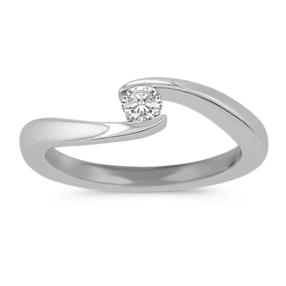 Polished Diamond Ring in Sterling Silver