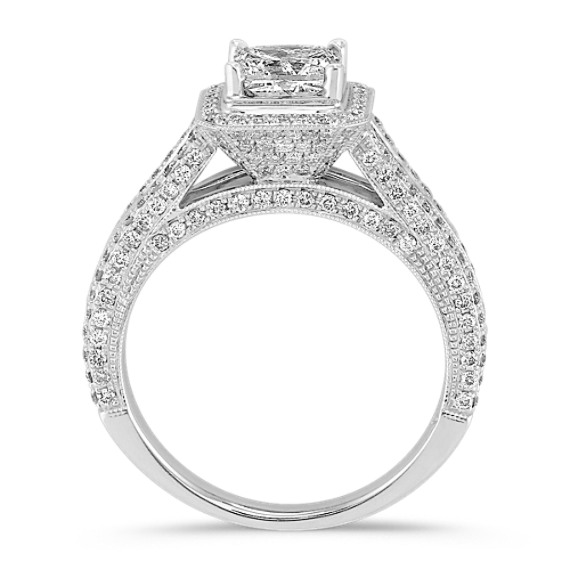 Princess Cut, Baguette, and Round Diamond Engagement Ring image