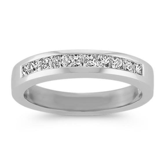 Princess Cut Channel-Set Diamond Wedding Band in Platinum