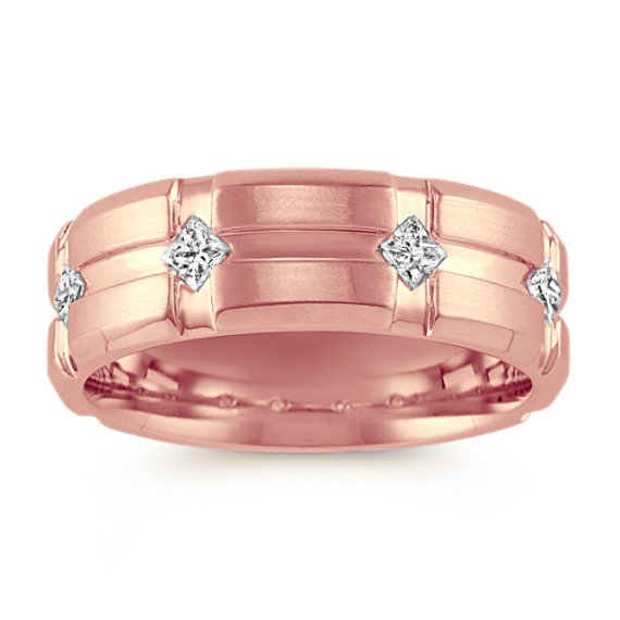 Princess Cut Diamond 14k Rose Gold Ring (7.5mm)