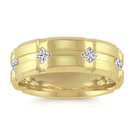 Princess Cut Diamond 14k Yellow Gold Ring (7.5mm)