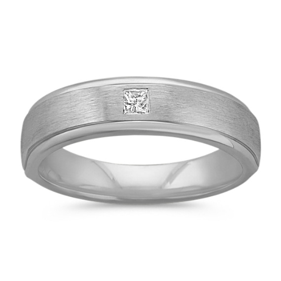 Princess Cut Diamond Ring with Brushed Finish (6mm)