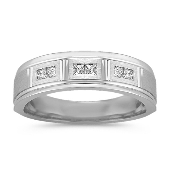 Princess Cut Diamond Ring with Satin Finish (6.5mm)