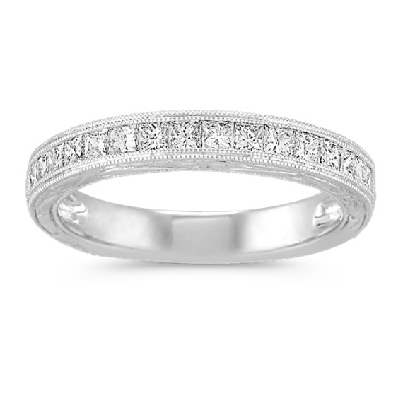 Princess Cut Diamond Wedding Band with Channel-Setting