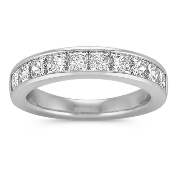 Princess Cut Diamond Wedding Band with Channel-Setting
