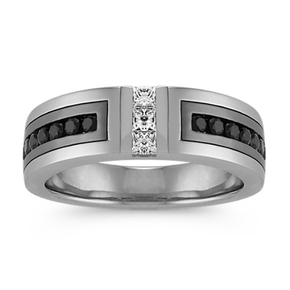 Princess Cut Diamond and Round Black Sapphire Ring (7mm)