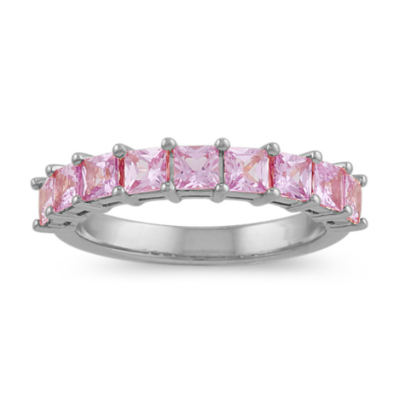 Princess-Cut Pink Sapphire Ring in 14k White Gold
