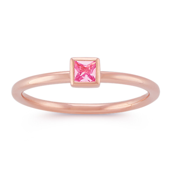 Princess Cut Pink Sapphire Stackable Ring in 14k Rose Gold