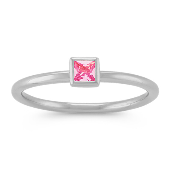 Princess Cut Pink Sapphire Stackable Ring in 14k White Gold