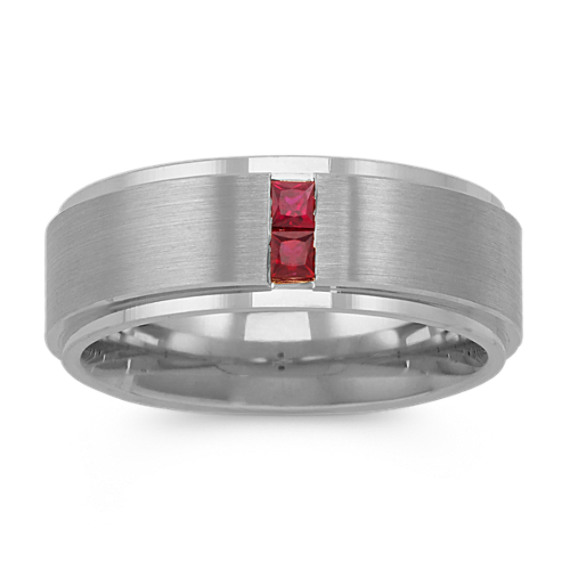 Princess Cut Ruby Ring in 14k White Gold (8mm)