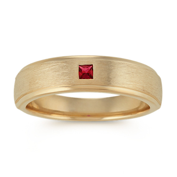 Princess Cut Ruby Ring with Satin Finish (6mm)