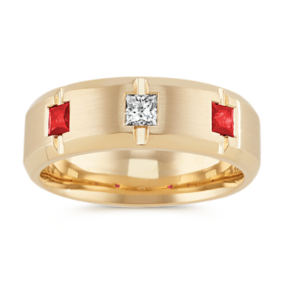 Princess Cut Ruby and Diamond Mens Band (7.5mm)
