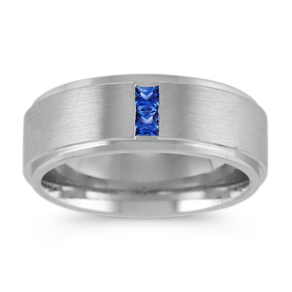 Princess Cut Sapphire Mens Ring in 14k White Gold (8mm)