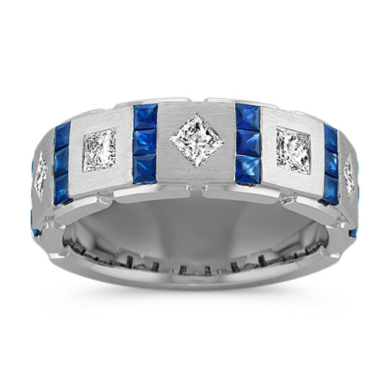 Princess Cut Sapphire and Diamond Ring with Channel Setting (7.5mm)