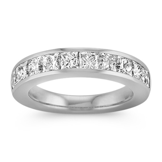 Princess Cut Ten-Stone Diamond Wedding Band with Channel-Setting