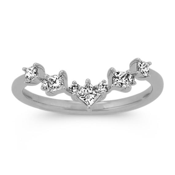 Princess Cut & Round Diamond V Ring in White Gold