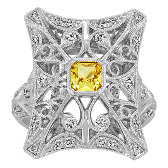 Radiant Cut Yellow Sapphire and Round Diamond Ring