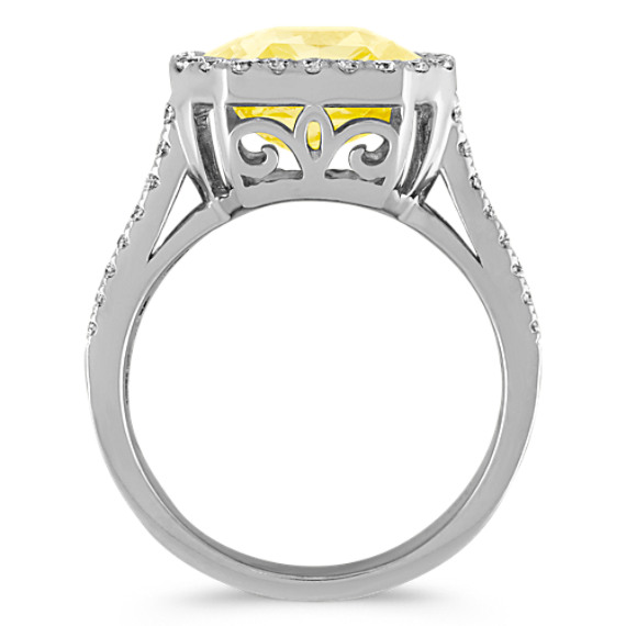 Radiant Cut Yellow Sapphire and Round Pave-Set Diamond Ring image