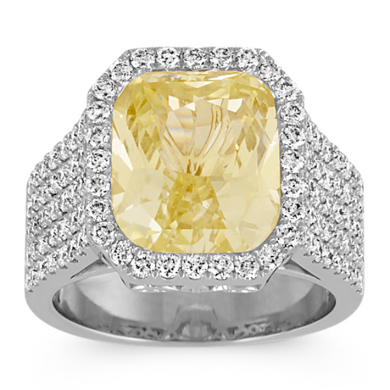 Radiant Cut Yellow Sapphire and Round Pave-Set Diamond Ring