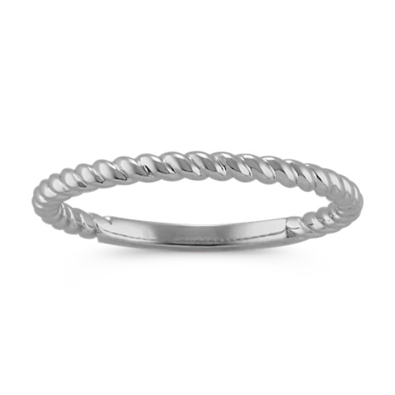 Rope Stackable Ring in 14k White Gold