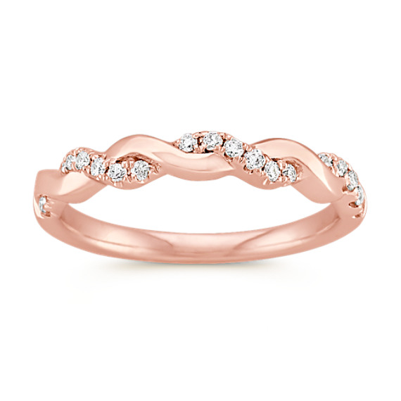 Rose Gold and Diamond Infinity Wedding Band Shane Co