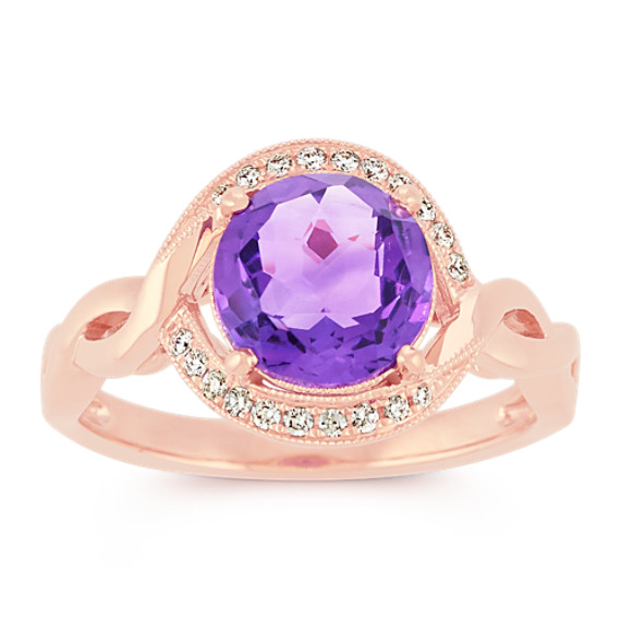 Round Amethyst and Diamond Vintage Ring in 14k Rose Gold