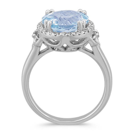 Round Aquamarine and Diamond Halo Ring in Sterling Silver image