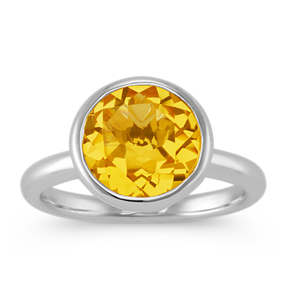 Sterling Silver with 14k Round Citrine Ring
