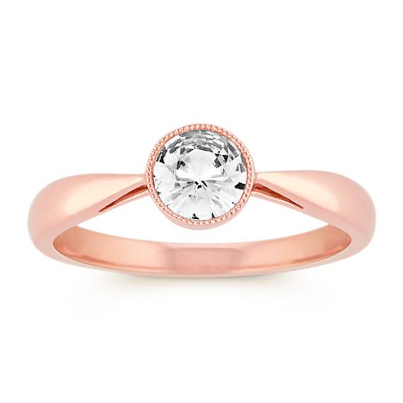 Round Bezel-Set White Sapphire Ring in 14k Rose Gold