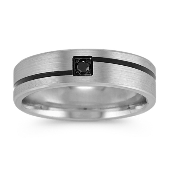 Round Black Sapphire Mens Ring with Black Rhodium Accent
