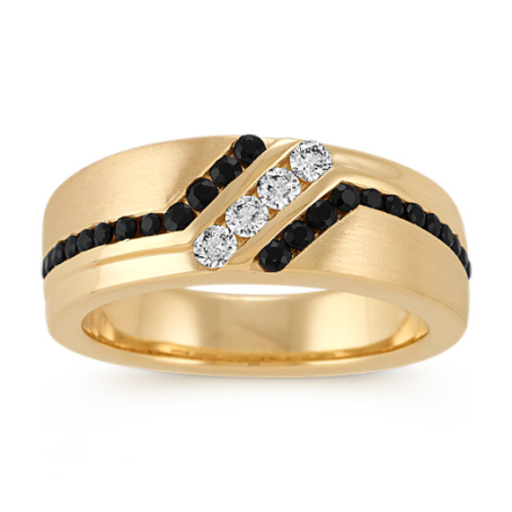 Round Black Sapphire and Diamond Mens Ring in 14k Yellow gold (8mm)