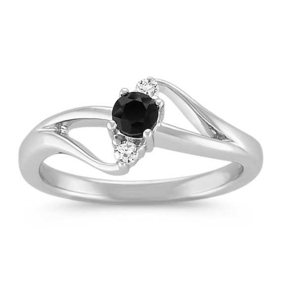 Round Black Sapphire and Diamond Ring in Sterling Silver