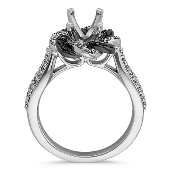 Round Black Sapphire and Round Diamond Braided Twist Halo Engagement Ring image