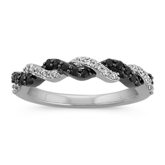 Round Black Sapphire and Round Diamond Braided Twist Wedding Band