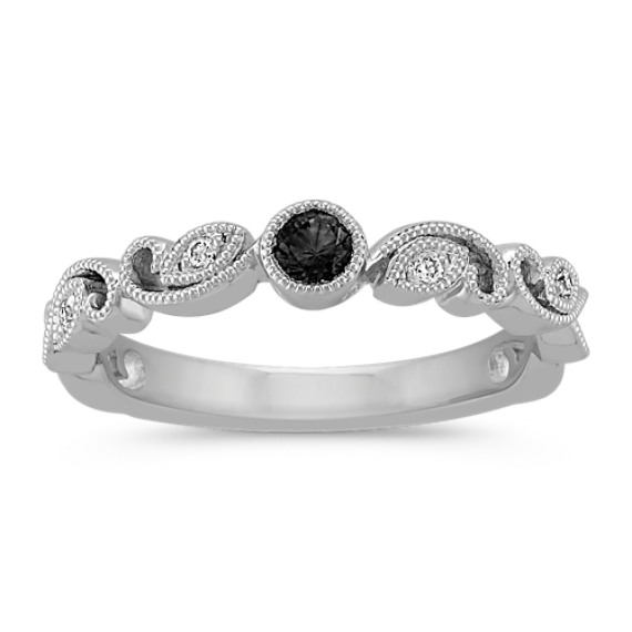 Round Black Sapphire and Round Diamond Stackable Ring