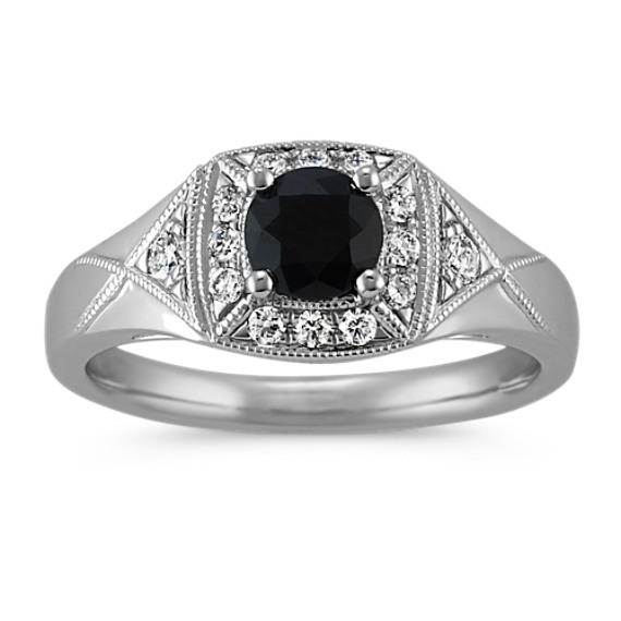 Round Black Sapphire and Round Diamond Vintage Ring in 14k White Gold