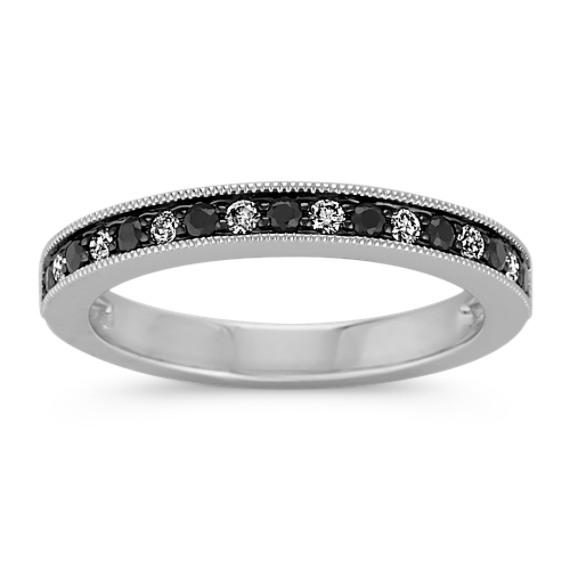 Round Black Sapphire and Round Diamond Wedding Band