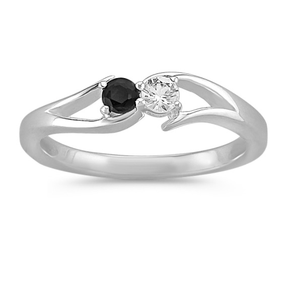 Round Black and White Sapphire Ring in Sterling Silver