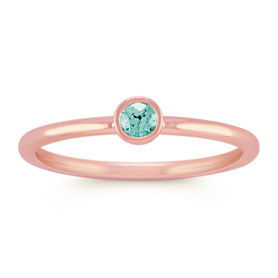 Round Blue Green Sapphire Stackable Ring in 14k Rose Gold