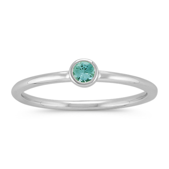 Round Blue Green Sapphire Stackable Ring